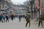 Kashmiri demonstrators clashed with Indian police during a protest in the northern city of Srinagar Jammu and Kashmir Feb. 28. Tauseef MustafaAgence France-PresseGetty Images